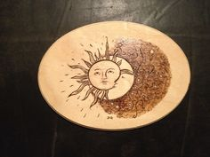 Sun and Moon wood burnt art