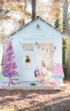 A Playhouse Decorated for Christmas via Honesttonod.com