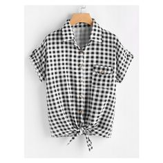 Gingham Print Knot Front Cuffed Shirt With Chest Pocket ($11) ❤ liked on Polyvore featuring tops