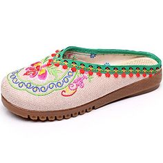 Best Womens Slippers | Qhome Womens Floral Embroidery Comfortable Casual Canvas Mules House Slippers Shoes ** You can get additional details at the image link.(It is Amazon affiliate link) #10likes