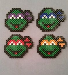 Mutant Ninja turtles figures made of Hama Beads