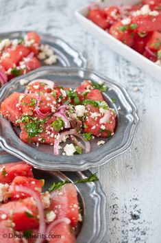 grilled watermelon salad with cojita cheese and red onions