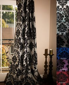 Details About Flock Damask Panel Ring Top Fully Lined Pair