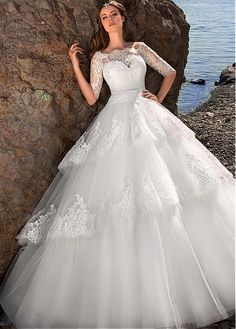 Fabulous Tulle Off-the-Shoulder Neckline Ball Gown Wedding Dresses with Lace…