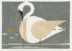 Charley Harper - Trumpeter Swan HC-T187 from Treglown Designs: This beloved image originally created by Charlie Harper is hand painted onto 13:1 mesh 100% cotton needlepoint canvas. Overall size is 10-inches x 7-inches. PLEASE NOTE: NEEDLEPOINT THREAD IS NOT INCLUDED. $73.00
