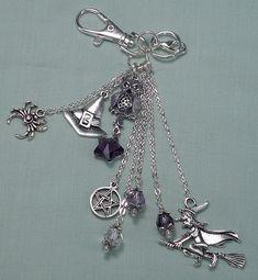 Mystical Handbag Accessory, Purse Charm, Keyring Keychain Bling, Backpack Dangle, Wiccan Halloween Handmade Beaded Gift 80HBC17