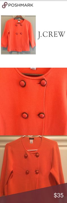 🍁JCrew sweater jacket 🎃Coral, double Breasted 100% Cotton jacket. Great for Fall, 🍂and a great pick me up for winter! Gently Used, beautiful coal and gold buttons. Easy to care for. No Dry cleaning necessary‼️ J. Crew Jackets & Coats