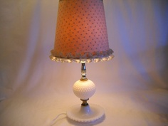 Vintage Milk Glass Lamp Hobnob by SeaPillowTreasures on Etsy, $20.95
