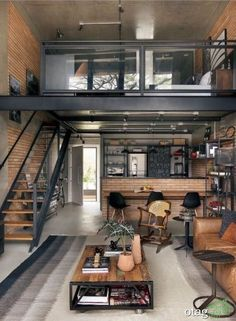 Relaxing Tiny House Makeovers Design Ideas With Farmhouse Style 44 Vintage Industrial Bedroom, Modern Industrial Decor, Industrial Interiors, Bedroom Vintage, Industrial Cafe, Industrial Office, Industrial Living, Industrial Design, Vintage Room