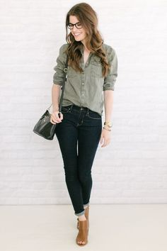 safari shirt + cognac- love how casual yet pulled-together this feels {dark-wash skinnies}
