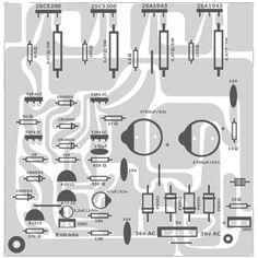 Projeto de amplificador de 500 Watts versão mono com transistores MOSFET. Hobby Electronics, Electronics Projects, Audio Box, Circuit Board Design, Diy Amplifier, Speaker Design, Circuit Diagram, Speakers, Printed Circuit Board