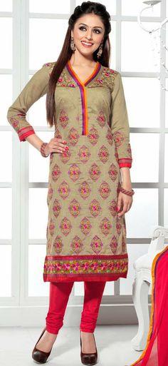 USD 48.74 Brown Resham Work Punjabi Salwar Kameez 30647