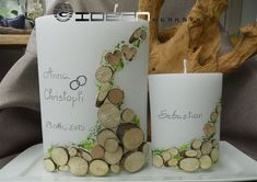 Wood Slices, New Work, Candles, Mugs, Tableware, Crafts, First Communion, Gold Weddings, Purchase Order