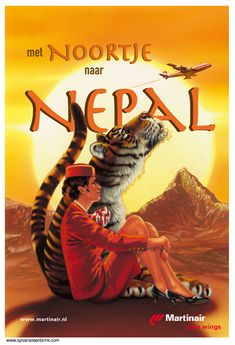 Travel poster for Martinair to Nepal -- by Sylvan Steenbrink