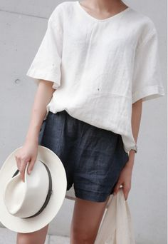 linen tip and denim shorts #style #fashion #summerstyle
