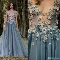 2017 Paolo Sebastian Lace Prom Dresses Sheer Plunging Neckline 3D Appliqued Party Gowns Cheap Sweep Train Tulle Beads Evening Wear For Women Evening Gowns 2017 Evening Dresses Long Evening Gown Online with $169.15/Piece on Olesa's Store   DHgate.com