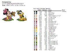 colori  schema punto croce baby Minnie e Pluto altezza 50 punti circa
