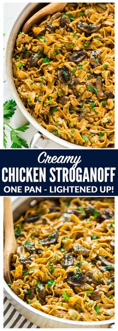 Quick, easy and delicious One Pot Creamy Chicken Stroganoff! A healthy, homemade version of everyone's favorite comfort food. Ready in 25 minutes! Easy Delicious Recipes, Easy Chicken Recipes, Healthy Dinner Recipes, Cooking Recipes, Hamburger Stroganoff, Chicken Stroganoff, Easy Dinners For Kids, Pesto, One Pot Meals