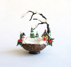 Miniature Winter Cottage and Snowman Embellished  Basket  OOAK by C. Rohal