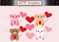 Pink, Brown and Red Valentine Bears Clip-art Set in a PNG format. Personal & Small Commercial use Heart Graphics, Bear Clipart, Bear Valentines, Png Format, Pink Brown, School Projects, Bears, Commercial, Clip Art