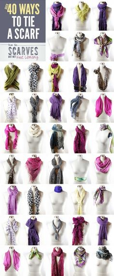 How to tie a scarf - 40 different ideas. The perfect trans seasonal accessory. They work well with our Captain Ranges. https://www.facebook.com/CaptainTortueMissCaptainbyAliceWood