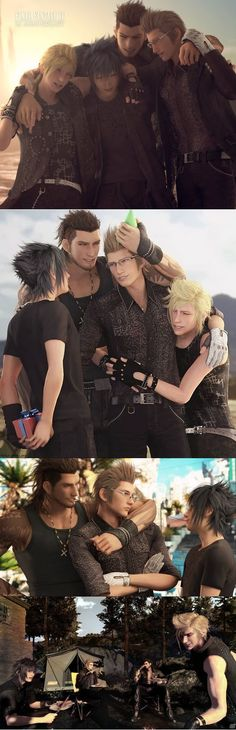 Spirit of friendship . ya sure its just friendship? Final Fantasy Funny, Arte Final Fantasy, Final Fantasy Artwork, Fantasy Series, Final Fantasy Xv Ignis, Noctis, Animation Film, Kingdom Hearts, Game Character