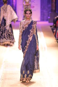 Sari by Anju Modi at Lakme Fashion Week 2014 Lakme Fashion Week, India Fashion, Asian Fashion, Fashion Weeks, Bollywood Lehenga, Bollywood Fashion, Bollywood Style, Pakistani Outfits, Indian Outfits