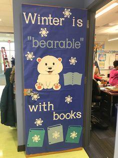 Classroom Door Displays, Christmas Classroom Door, School Displays, Classroom Decor, Library Themes, Library Book Displays, Library Ideas, Library Decorations, Library Quotes