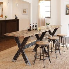 tables handcrafted of reclaimed wood this rugged and beautiful gathering table is highly functional pub tableskitchen - Bar Table For Kitchen