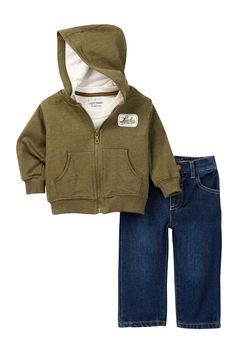 French Terry Hoodie, Heather Tee & Jean Set (Toddler Boys) by Lucky Brand on @nordstrom_rack