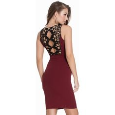 New Look Crochet Back V-Front Bodycon Dress (£25) ❤ liked on Polyvore featuring dresses, burgundy, party dresses, womens-fashion, v neck bodycon dress, red bodycon dress, burgundy cocktail dress, lace cocktail dress and red dress