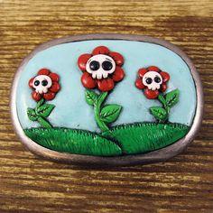 Skull Flower Polymer Clay Belt Buckle by rapscalliondesign on Etsy, $38.00