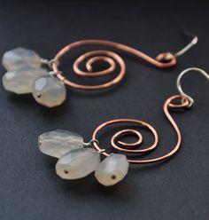 Chalcedony Copper Earrings Blue Gemstone Wire Jewelry by GueGueCreations