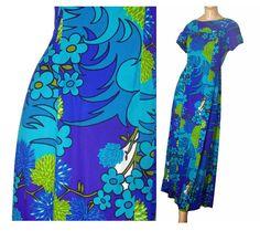 Vintage 60s Hawaiian Dress Blue Exotic Print Maxi Muu Muu L $75.00 by susiesboutiquecloths
