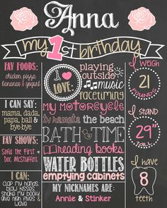 Shabby Chic First Birthday Chalkboard Poster // Girl 1st Birthday Chalk Board // Custom Printable // Pink and Gold Vintage Birthday // Girl by PersonalizedChalk on Etsy https://www.etsy.com/listing/196164527/shabby-chic-first-birthday-chalkboard