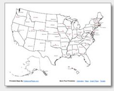Blank map of the United States Print Pinterest United states