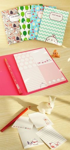 4 super cute bunny sticky notes are waiting for you in the Molang Sticky Notebook!