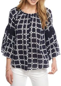 Crown  Ivy  NavyWhite Swing Peasant Top