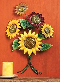 """Figure out additional info on """"metal tree art"""". Look at our web site. Metal Flower Wall Decor, Hanging Flower Wall, Metal Tree Wall Art, Metal Wall Sculpture, Metal Flowers, Metal Art, Sunflower Kitchen Decor, Sunflower Bathroom, Mason Jars"""