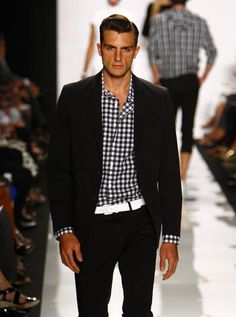 Black Gingham with Black suit - nice, but in the real world I would replace the hideous white belt with a black one.