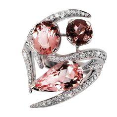 Shaun Leane Morganite Pink Tourmaline Diamond Gold Aurora Ring | 1stdibs.com