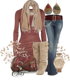 Nice fall outfit. Love the colors. Not the earrings