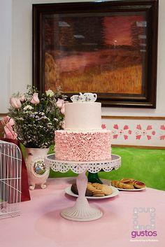 Pastel de baby shower temática Hora del té. Tea party themed baby shower cake