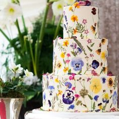 Regramming this stunning cake going out as the last of the year by A fitting floral end to A simply beautiful creation… Edible Flowers Cake, Wedding Cakes With Flowers, Pretty Cakes, Beautiful Cakes, Simply Beautiful, Wedding Pins, Dream Wedding, Sugar Cake, Garden Party Wedding