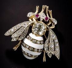 Vintage Enamel Bee Brooch