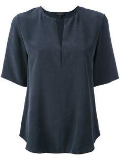 Theory Open Neck T-shirt - Grey Neck T Shirt, Theory, Tunic Tops, Silk, Blouse, Grey, Coat, Pants, Shirts