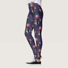 #4th of July Boxer dog art leggings - #boxer #puppy #boxers #dog #dogs #pet #pets #cute