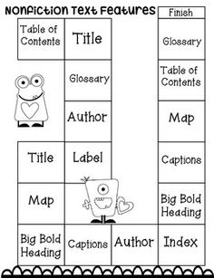Text Features Game Students can play this quick game with a partner to practice locating different nonfiction text features.Students can play this quick game with a partner to practice locating different nonfiction text features. Library Skills, Library Lessons, Reading Lessons, Reading Strategies, Reading Skills, Teaching Reading, Reading Comprehension, Math Lessons, Reading Tips