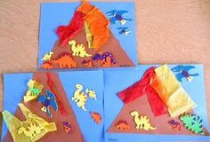 Volcanoes with construction paper and tissue paper. Younger groups could create these after learning about volcanoes. Can write stories to go along with volcanoes. Where did it erupt? Were there any people around? Where did the people go for safety? What did the eruption look like? Etc.