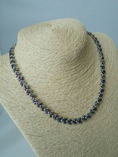 Leaf necklace .. Blue and silver beaded by GillyBJewellery on Etsy